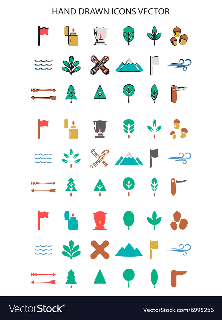 Colorful Camping icon set hand drawn vector image