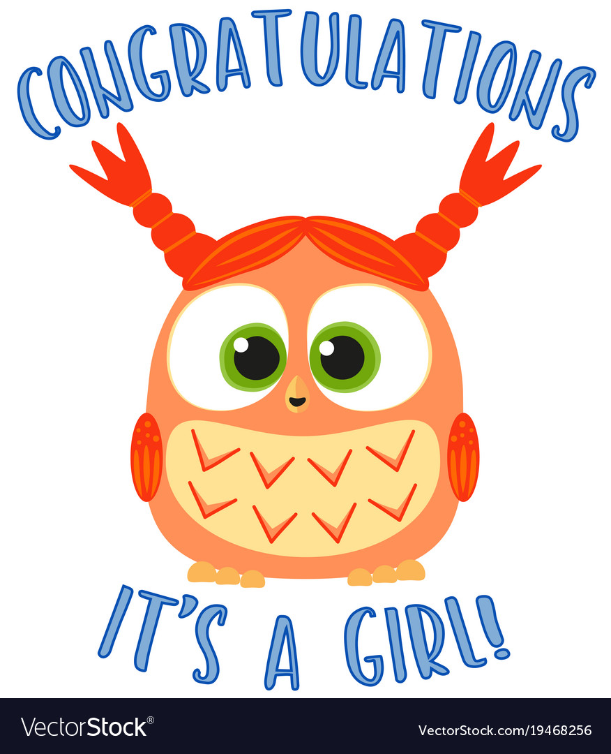 Congratulations it s a girl colorful poster