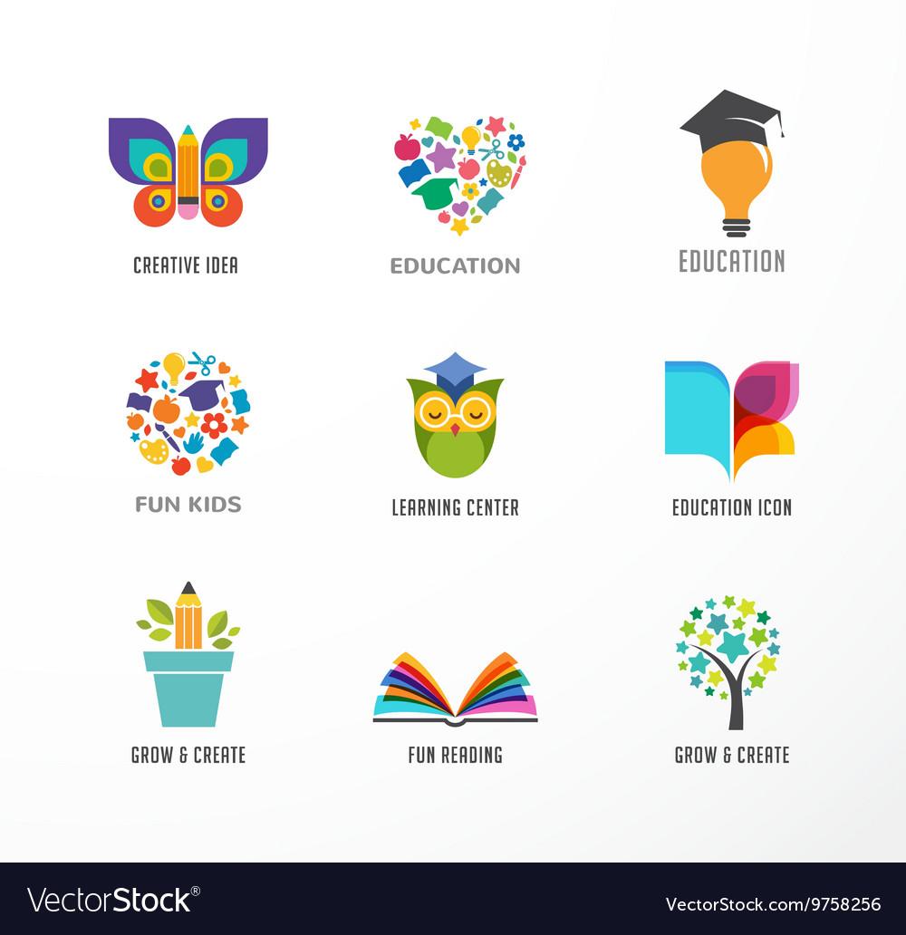 Education icons elements set vector image