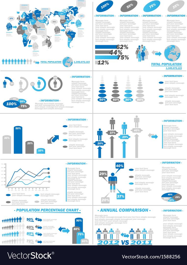 INFOGRAPHIC DEMOGRAPHICS WEB ELEMENTS BLUE