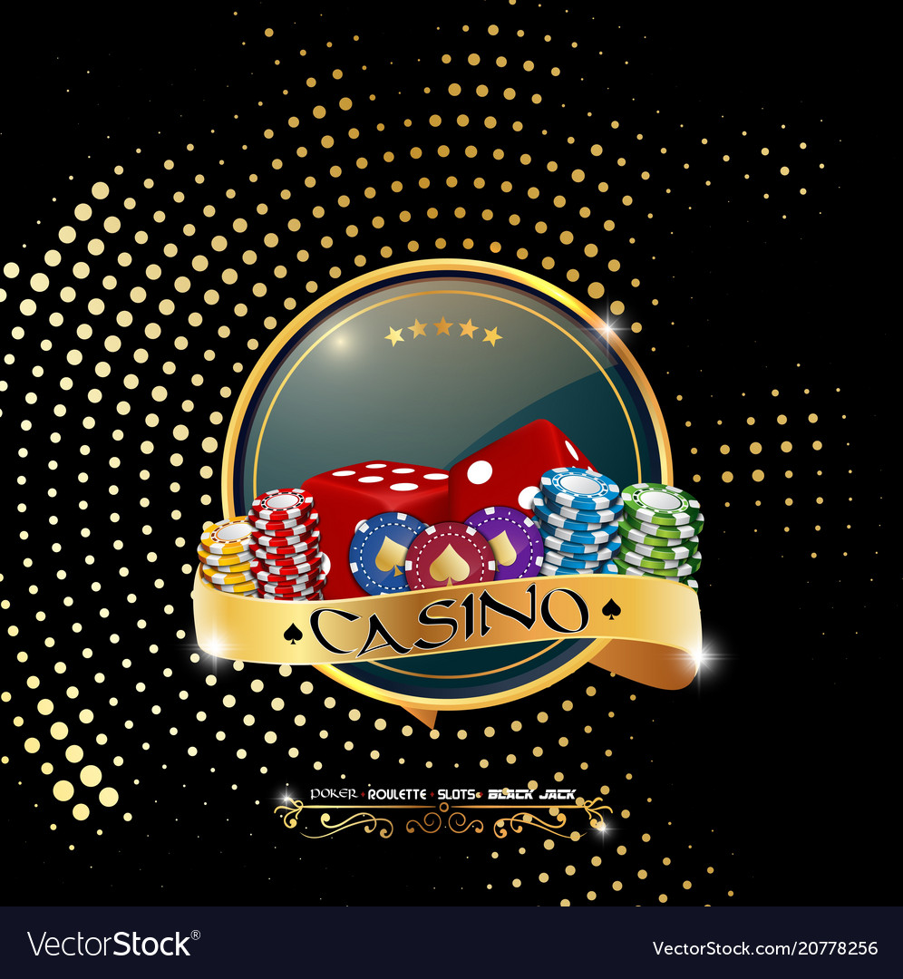 Poker casino banner with chips and dices