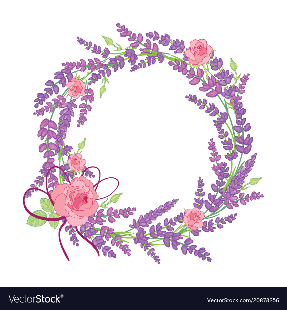 Rose and lavender flowers wreath decor arrangement