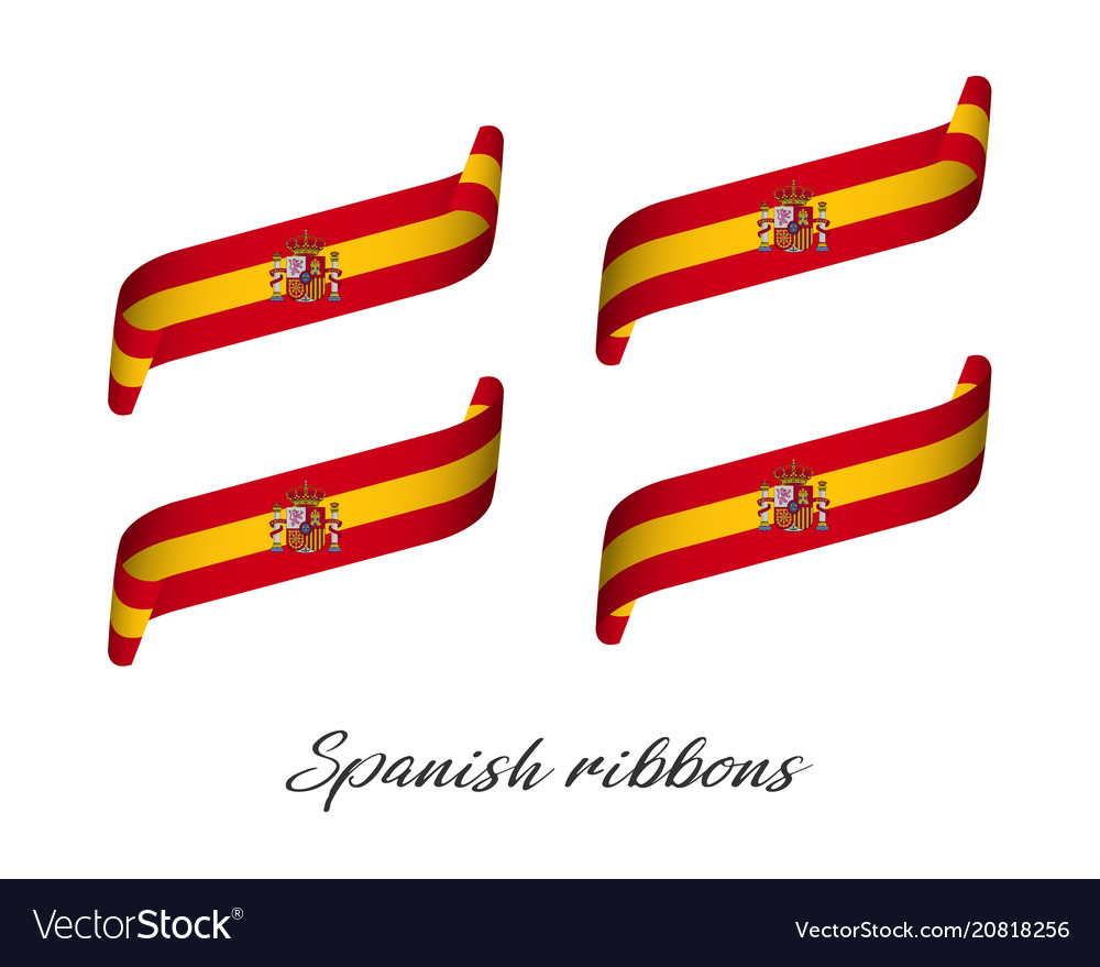 Set of four modern colored spanish ribbons vector image