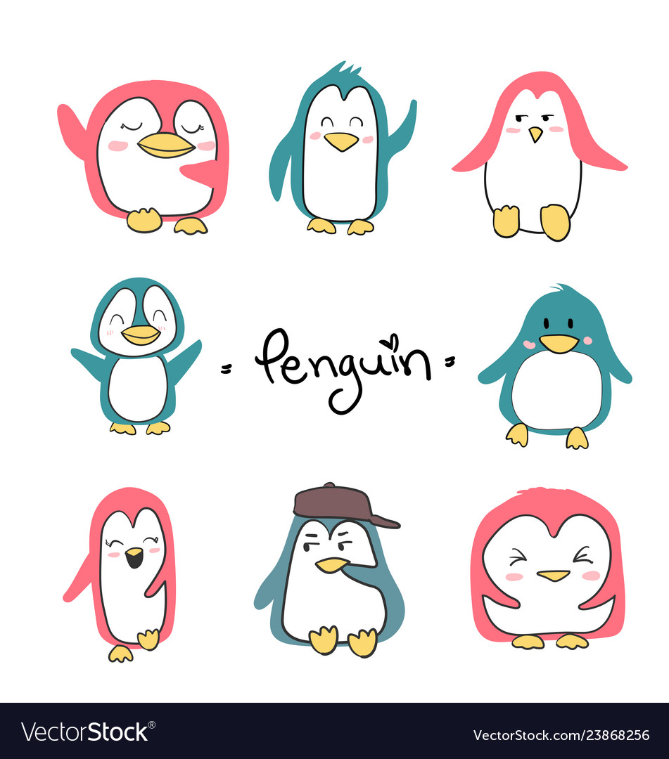 Set of penguins cute character