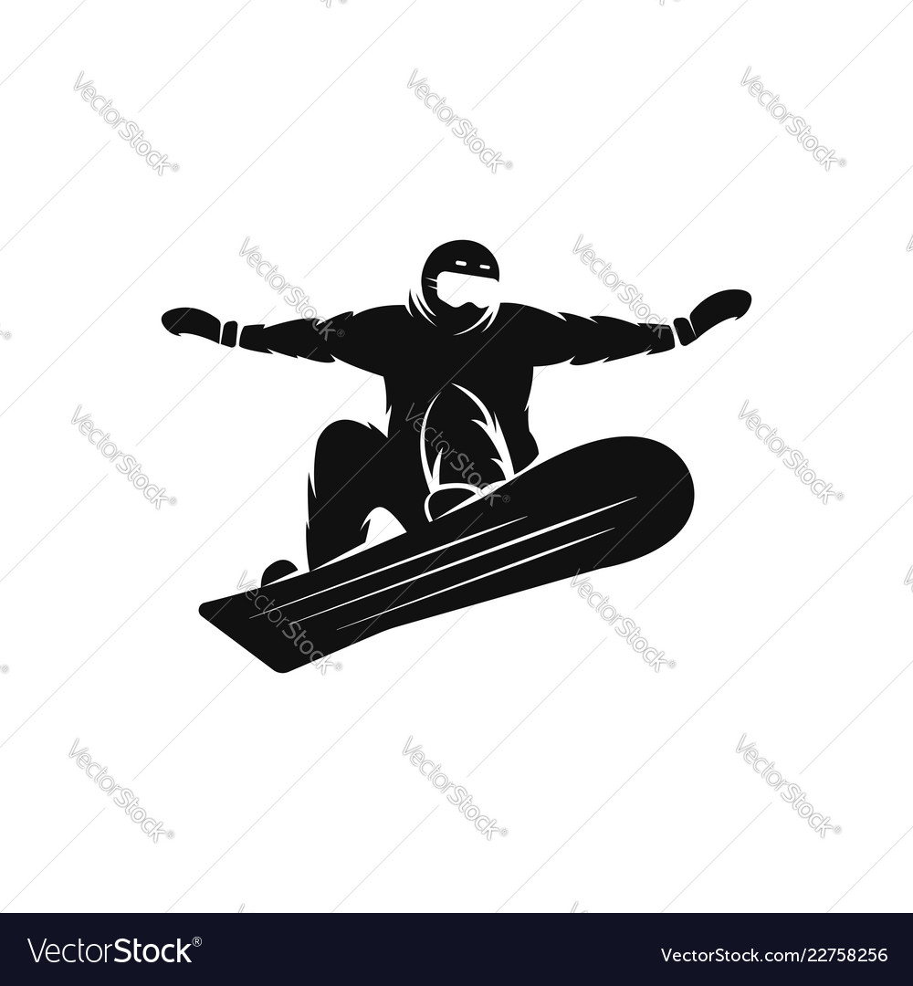 Silhouette of a snowboarder on the snowboard free