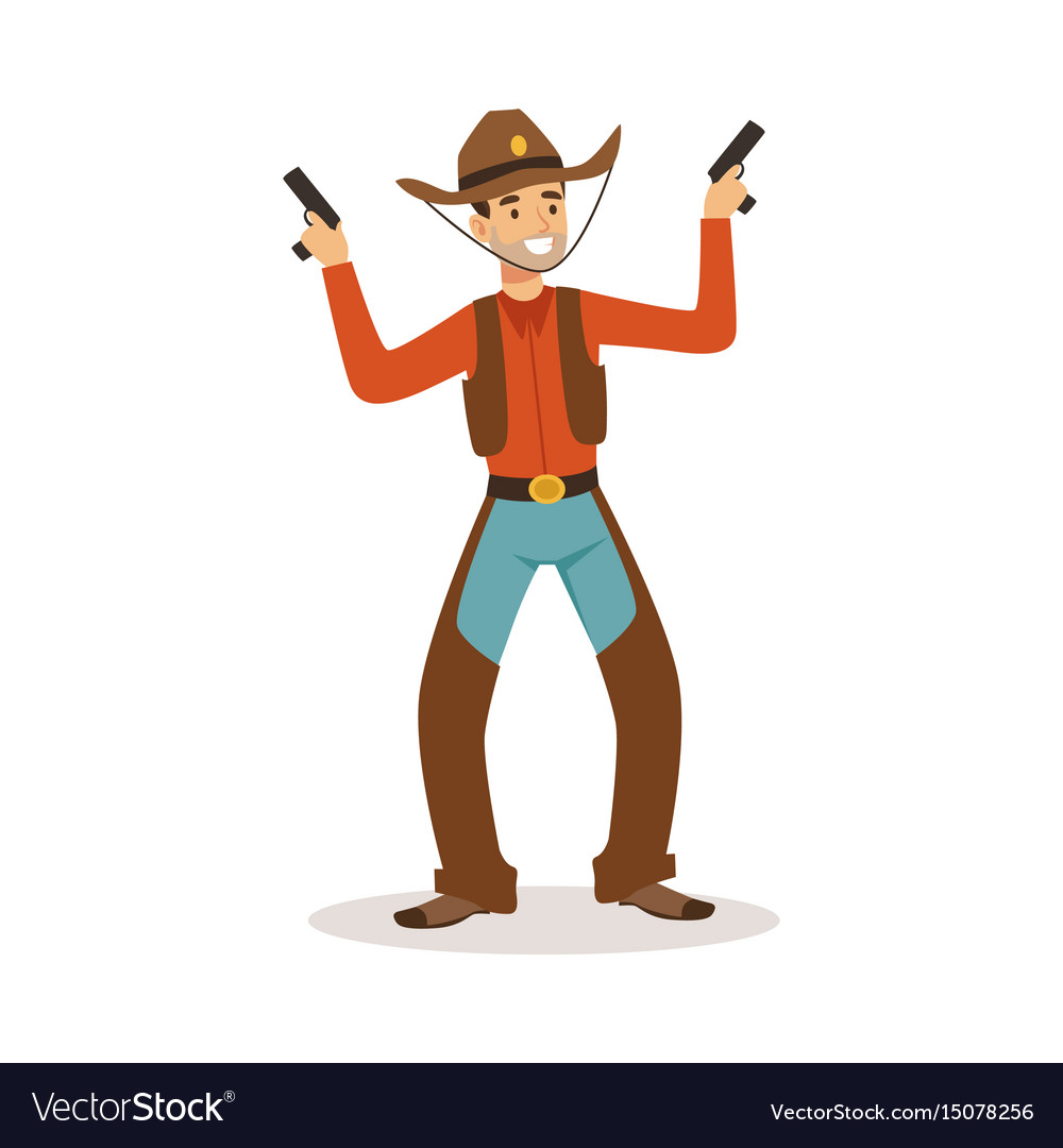 Smiling cowboy holding his guns western cartoon