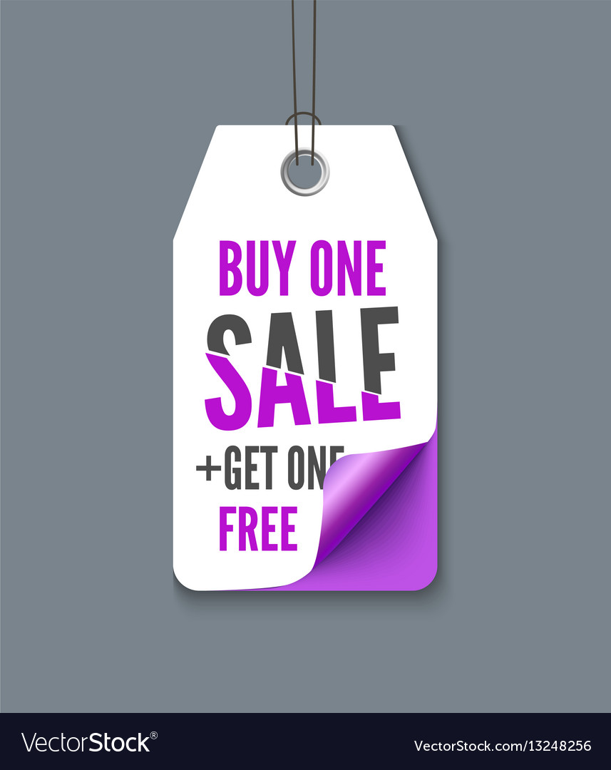 Violet tag with inscription buy one - get fre vector image