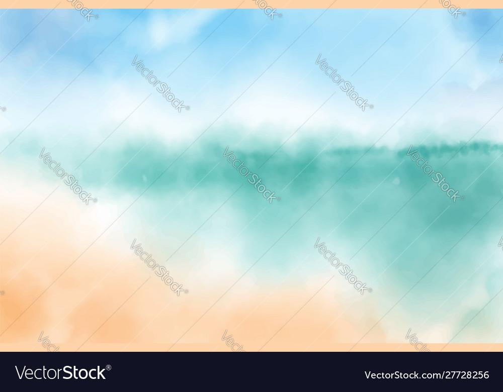 Watercolor blurred beach seascape background