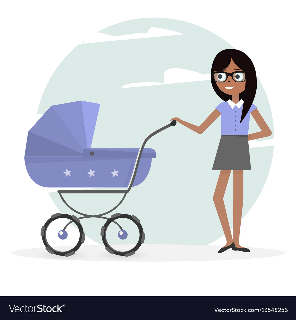 Woman and pram young mom and baby