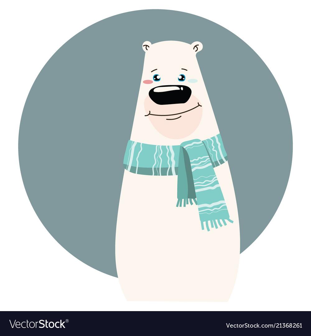 A cartoon portrait of a bear stylized polar bear