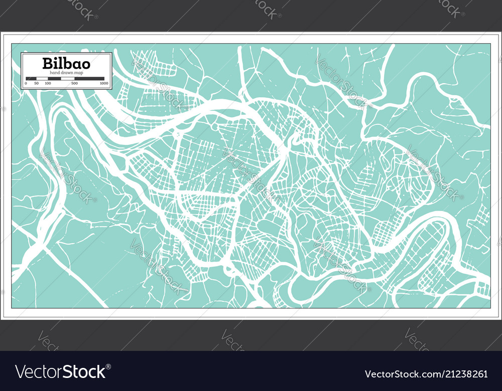 Bilbao Spain City Map In Retro Style Outline Map Vector Image
