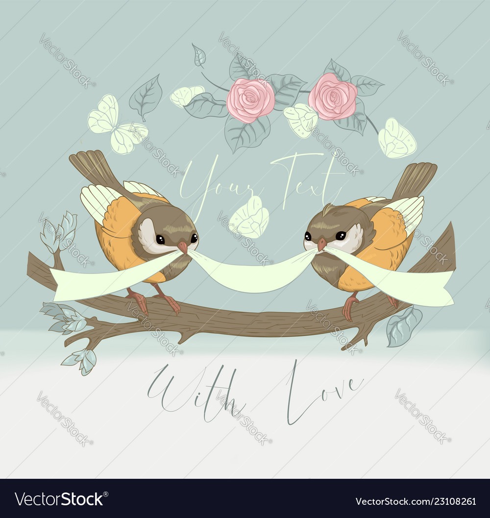 Bird couple cute card with vintage flower