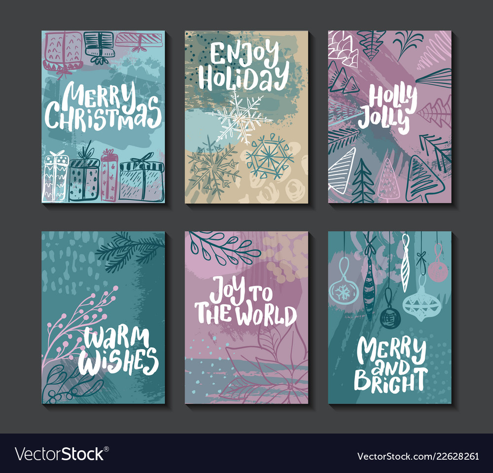 Collection of six colorful christmas cards