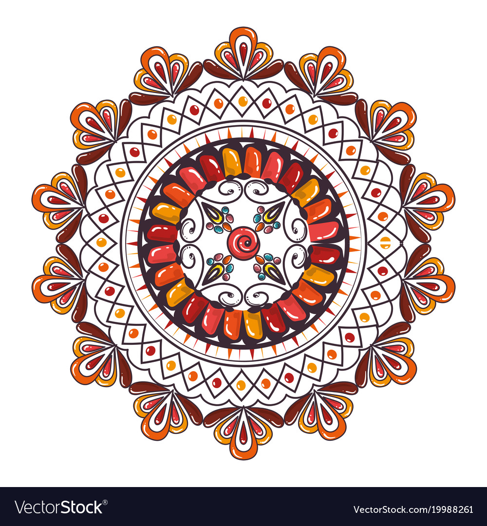 color mandala decorative icon royalty free vector image