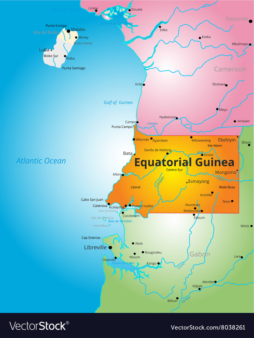 Color map of Equatorial Guinea Royalty Free Vector Image