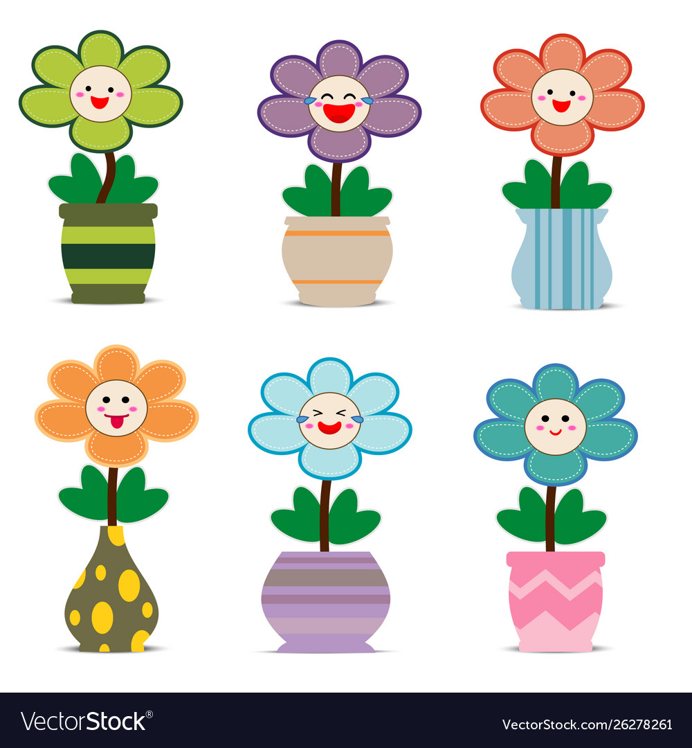 Cute flowers in pots with smiley face