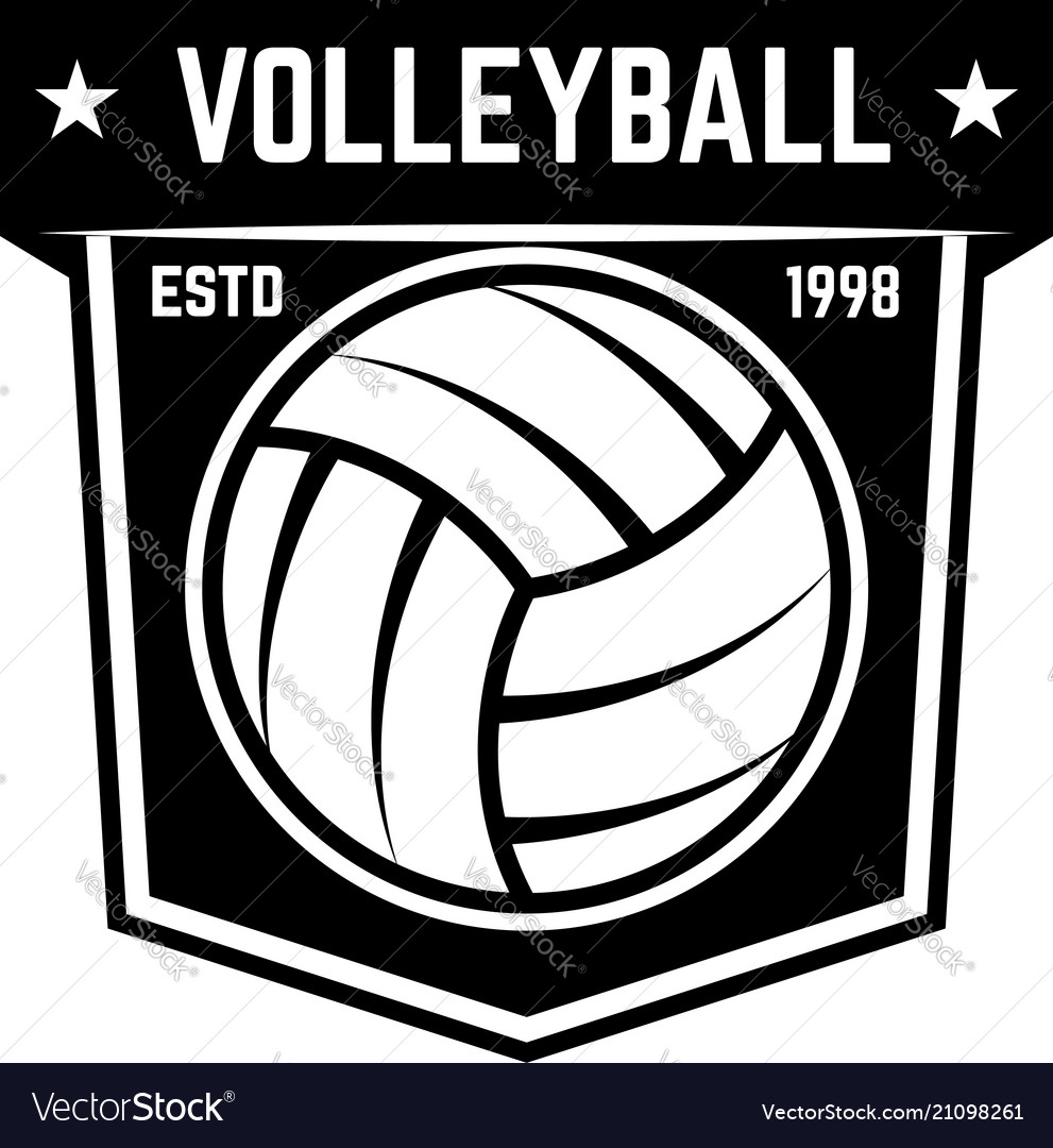 Emblem template with volleyball ball isolated on