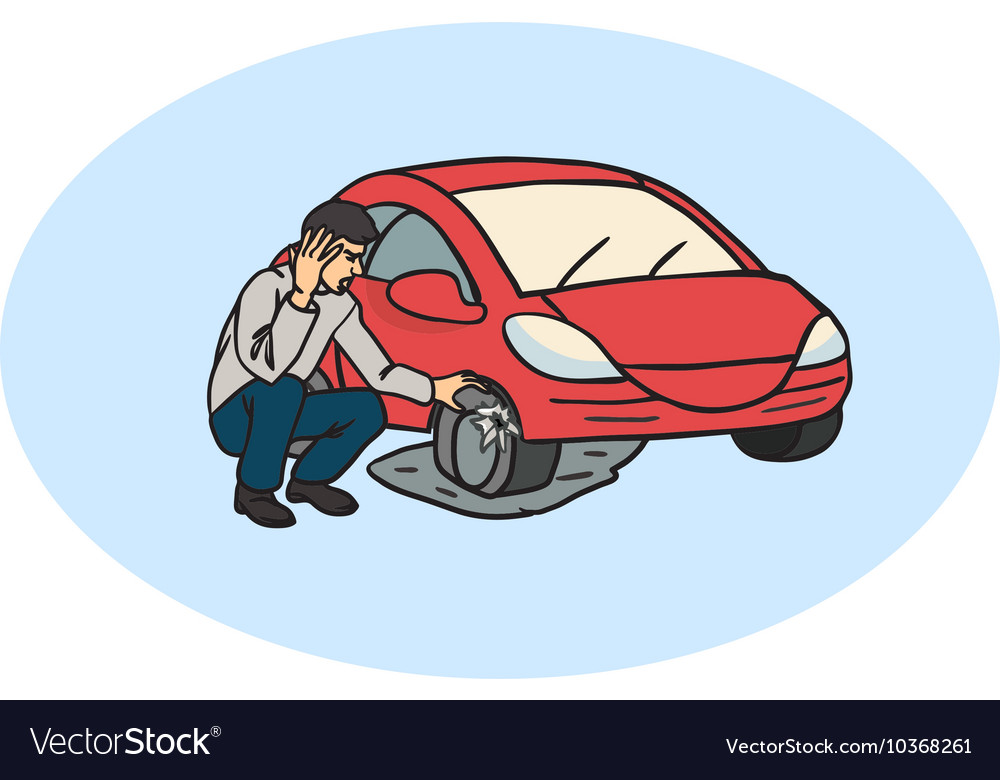Flat Tire On The Road Man Having Car Trouble Vector Image