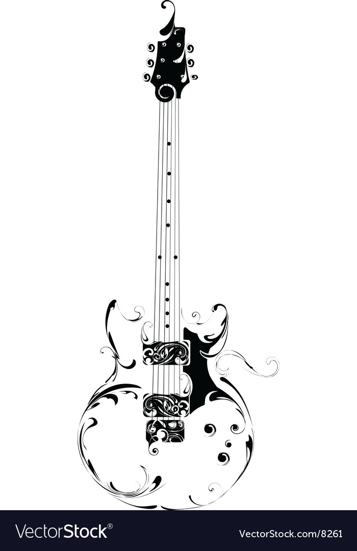 guitar royalty free vector image vectorstock rh vectorstock com bass guitar vector art flying v guitar vector art