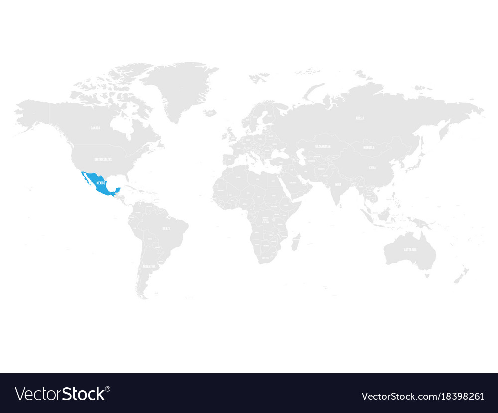 Mexico marked by blue in grey world political map
