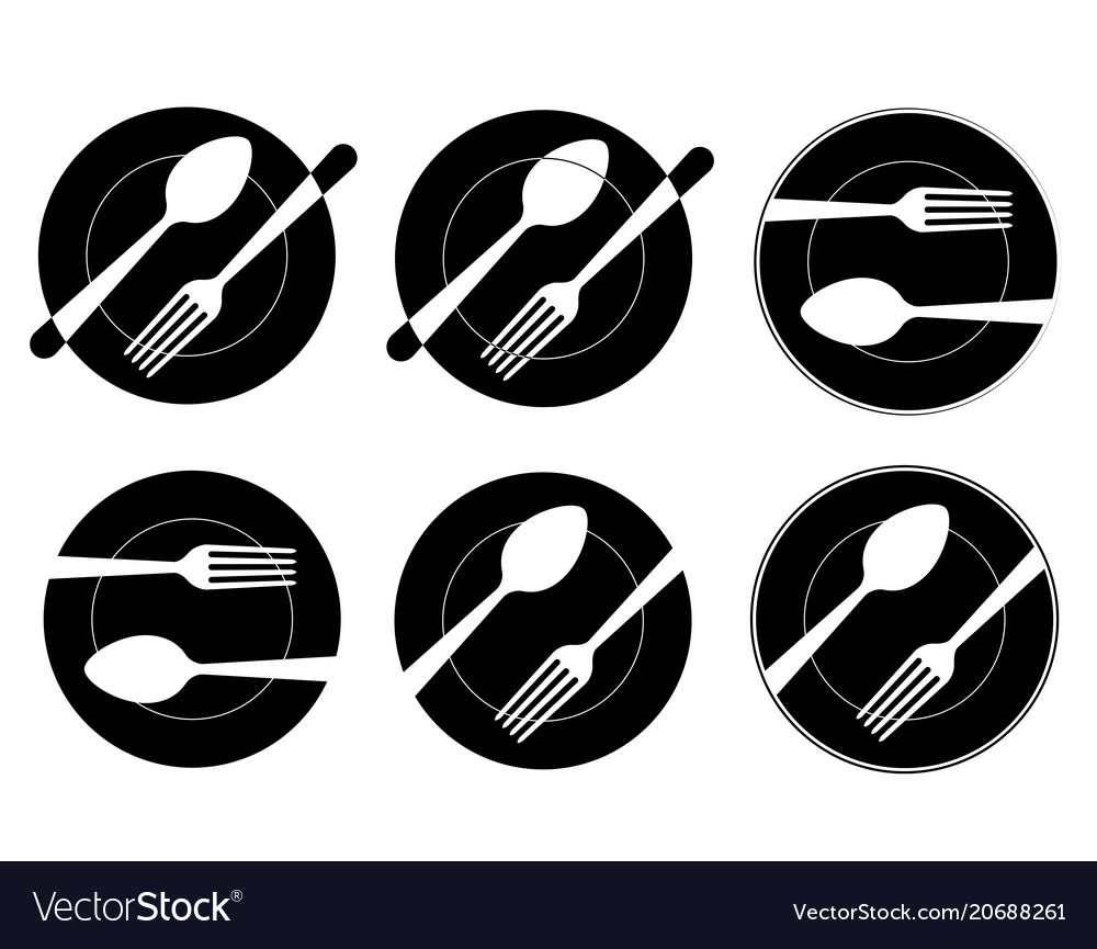 Set abstract black logo for a restaurant