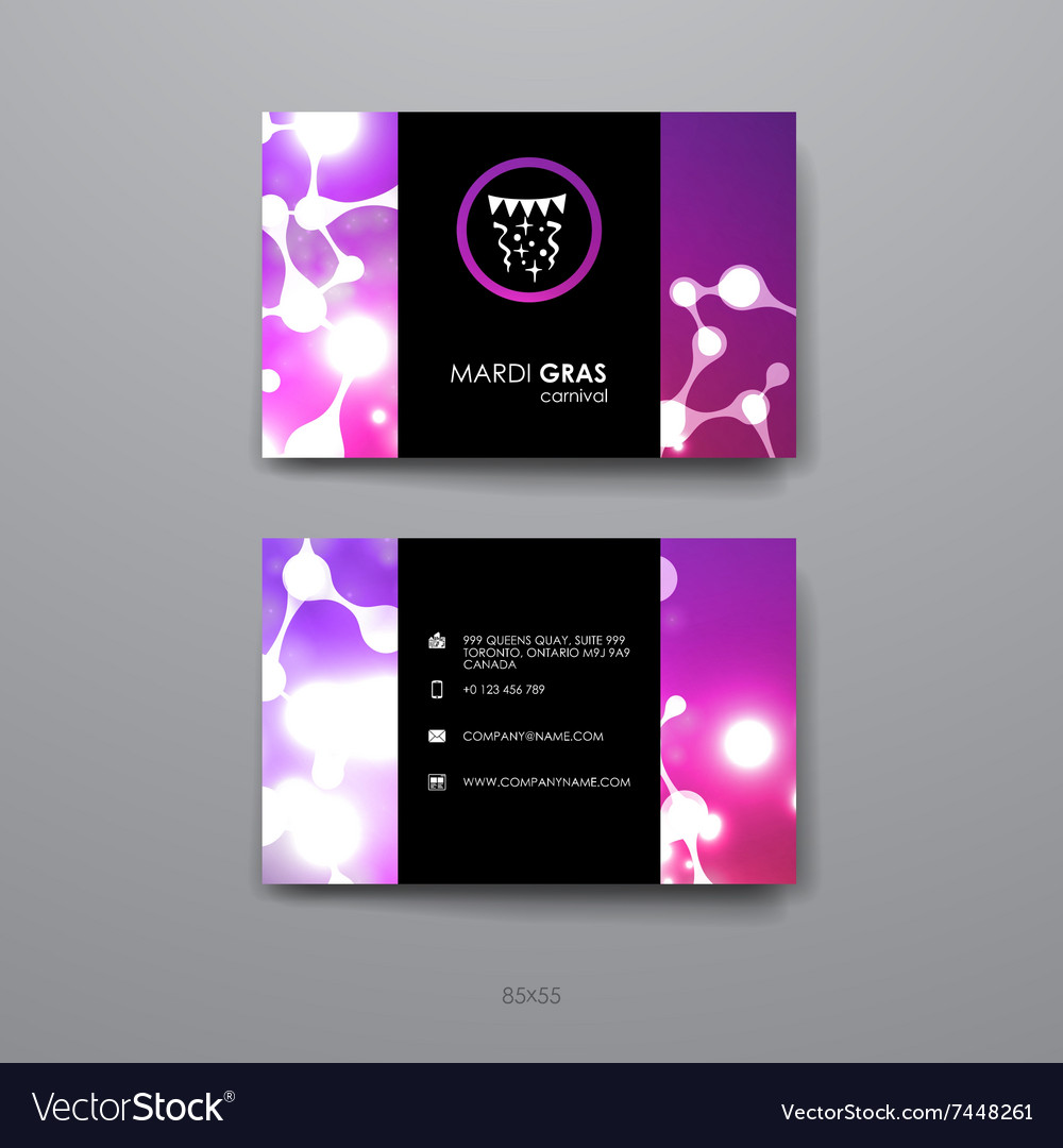 Set of design business card template in mardi gras set of design business card template in mardi gras vector image cheaphphosting Image collections
