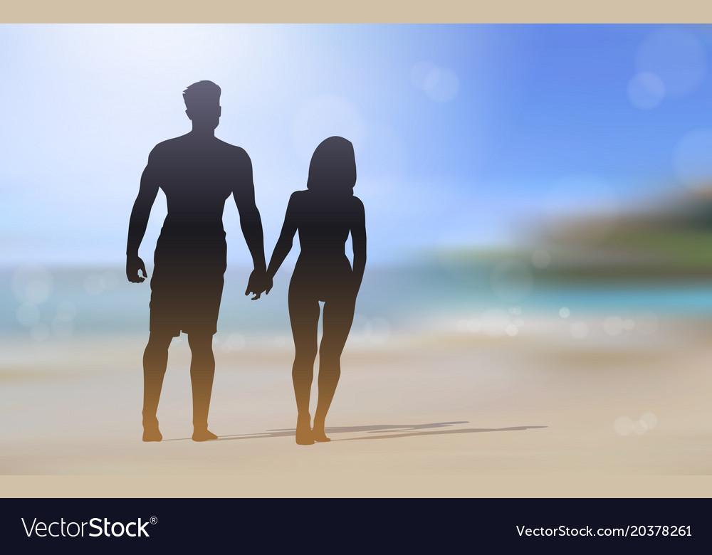 Silhouette Couple Walking On Beautiful Beach Vector Image