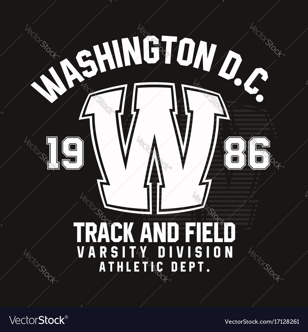Washington typography for t-shirt print track and