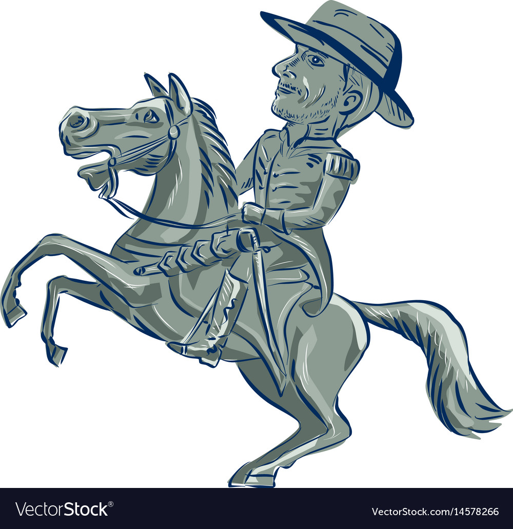 American cavalry officer riding horse prancing