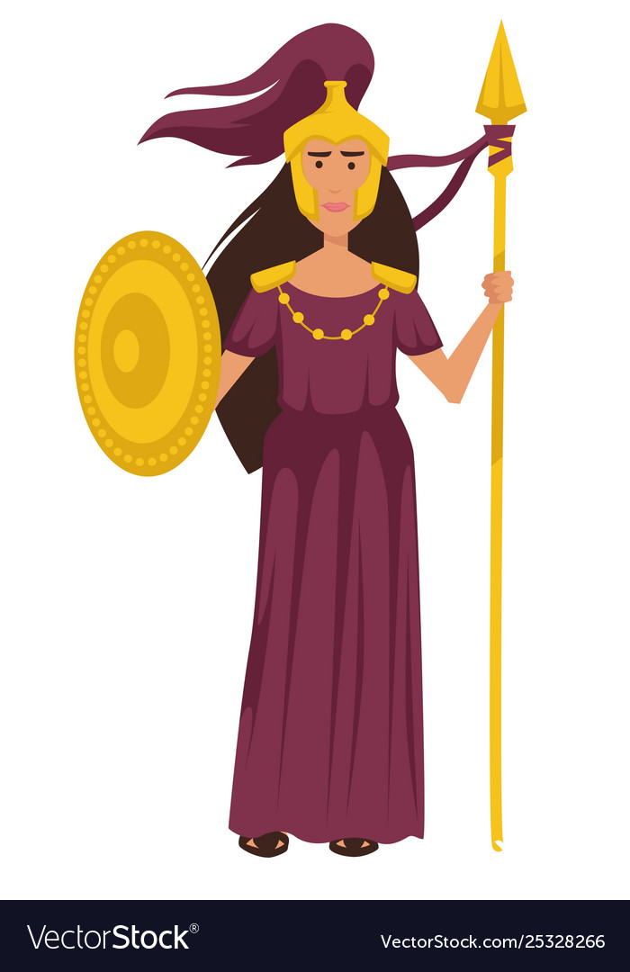 Athena ancient greek goddess in gold armor