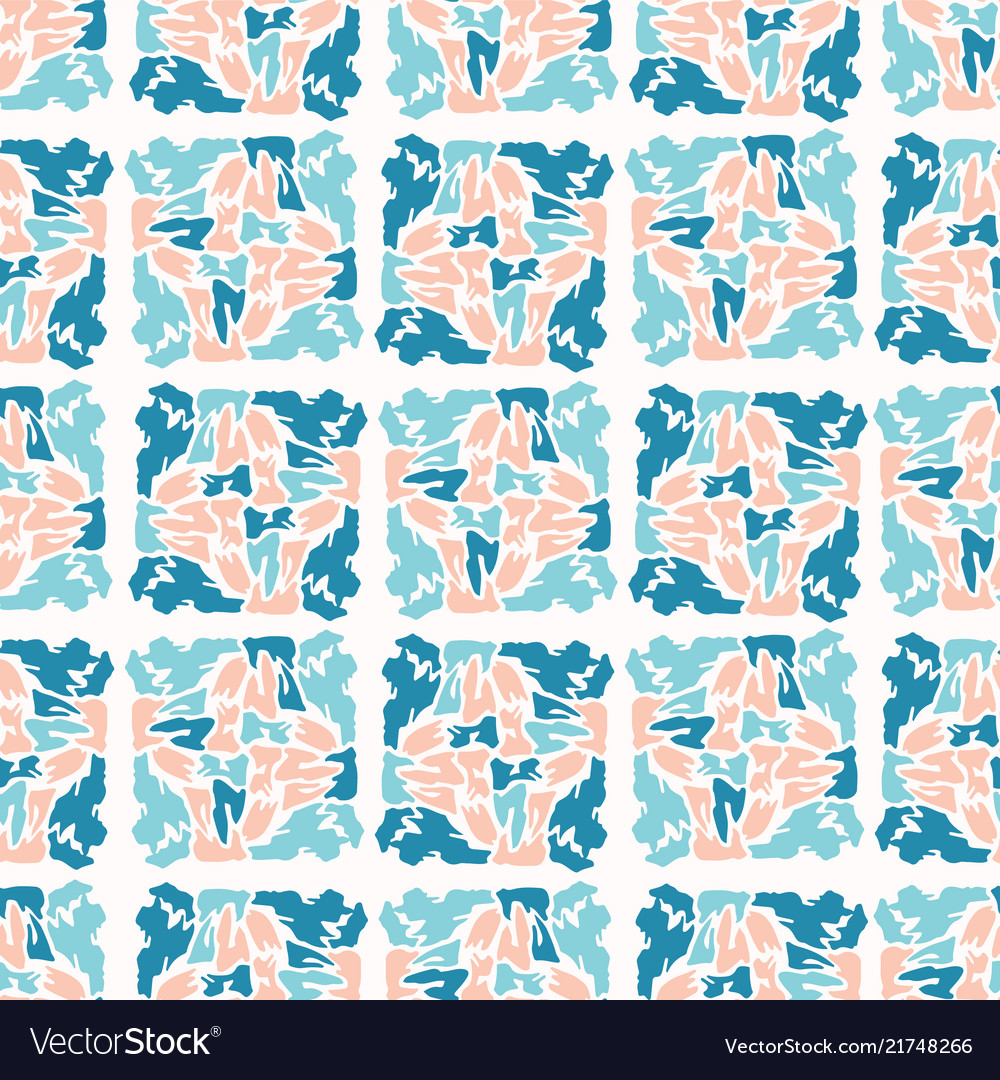 Blue and pastel pink abstract geometric shape grid
