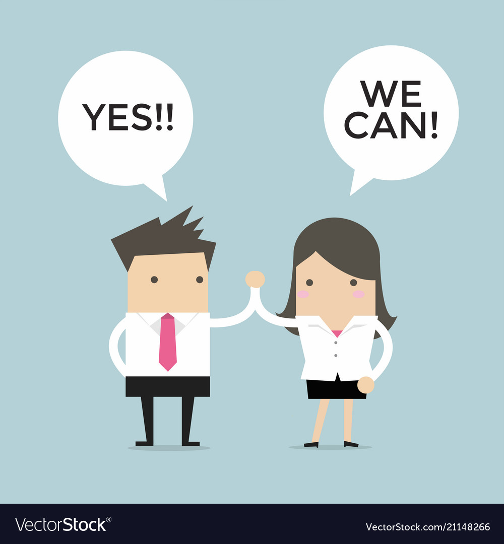 Business people high five yes we can vector image