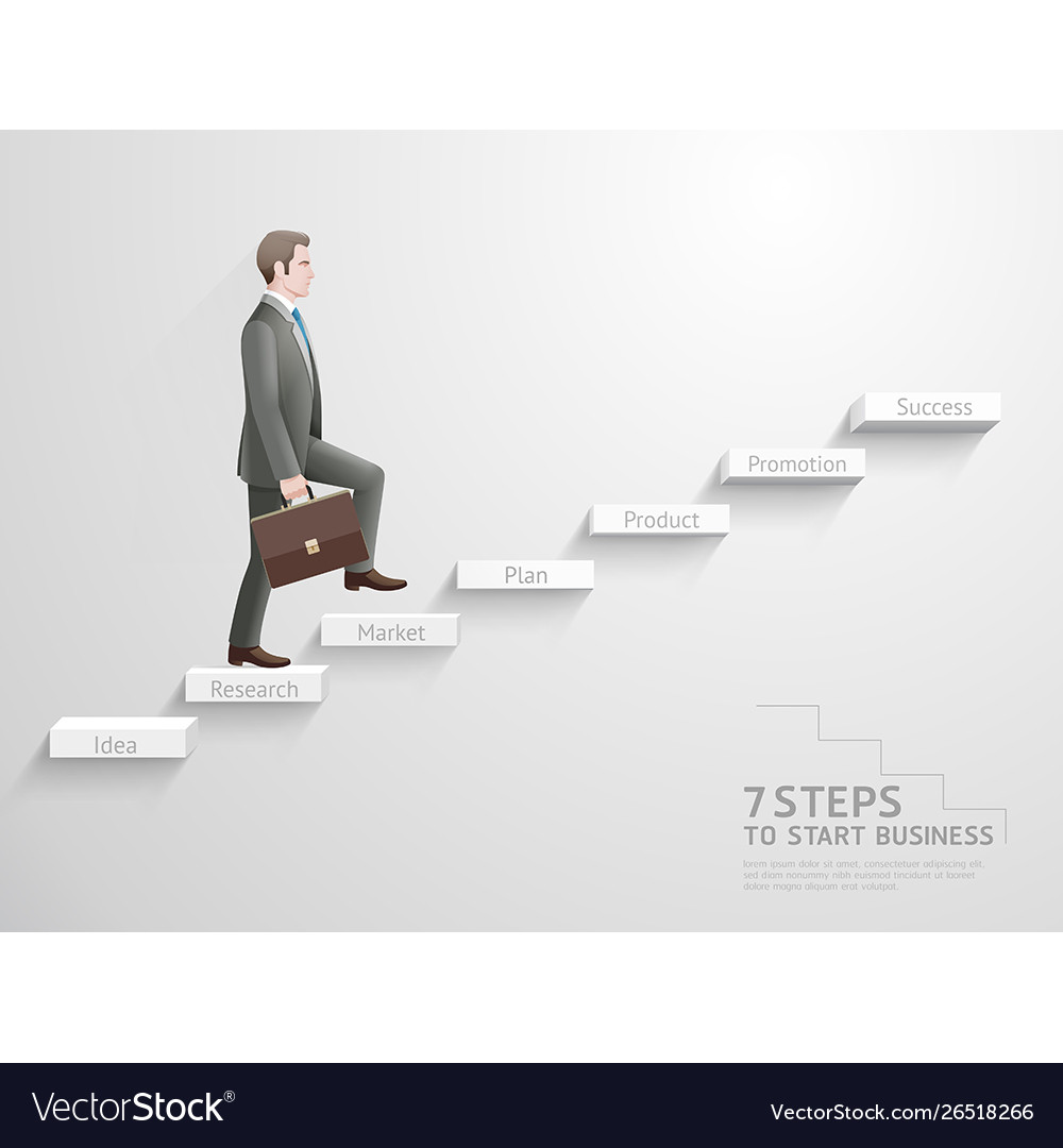 Businessman climbing up stairs to top
