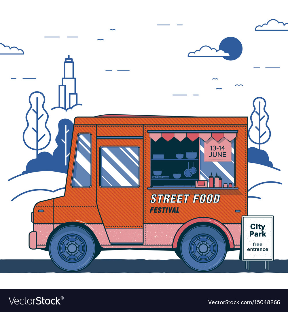 Concept of street food festival poster with
