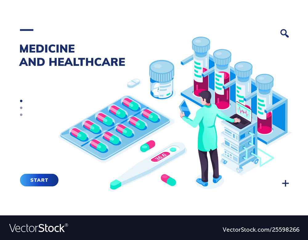 Doctor with tablet or pharmacist near pills