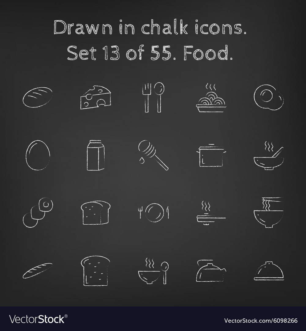 Food icon set drawn in chalk vector image