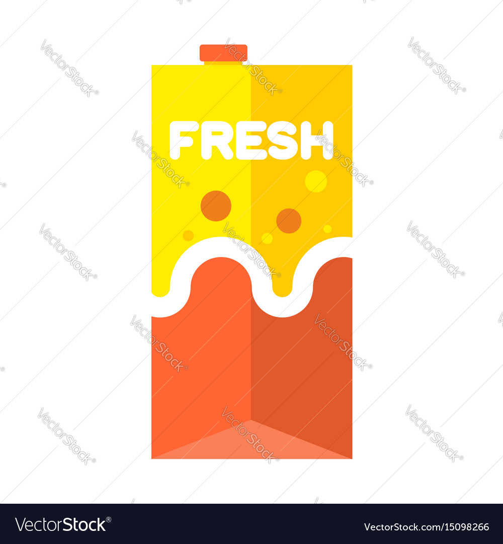 Fresh juice pack isolated cardboard box for drink vector image