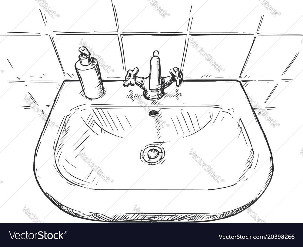 Hand drawing of sink in bathroom