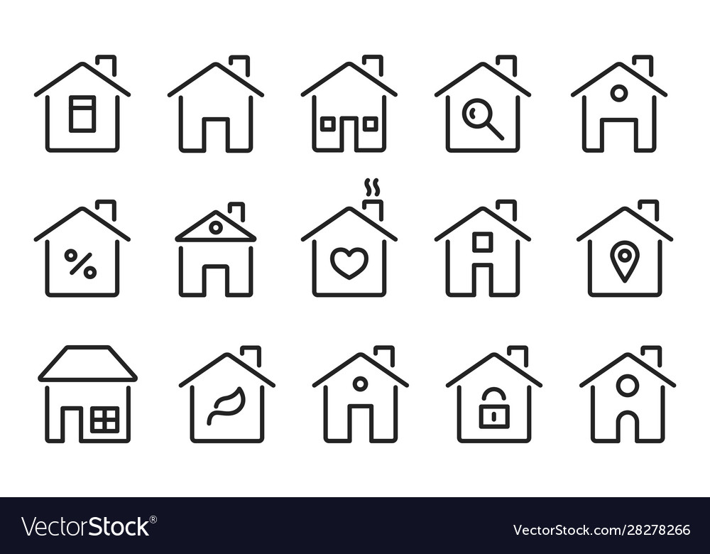 Home icons thin line modern houses homes