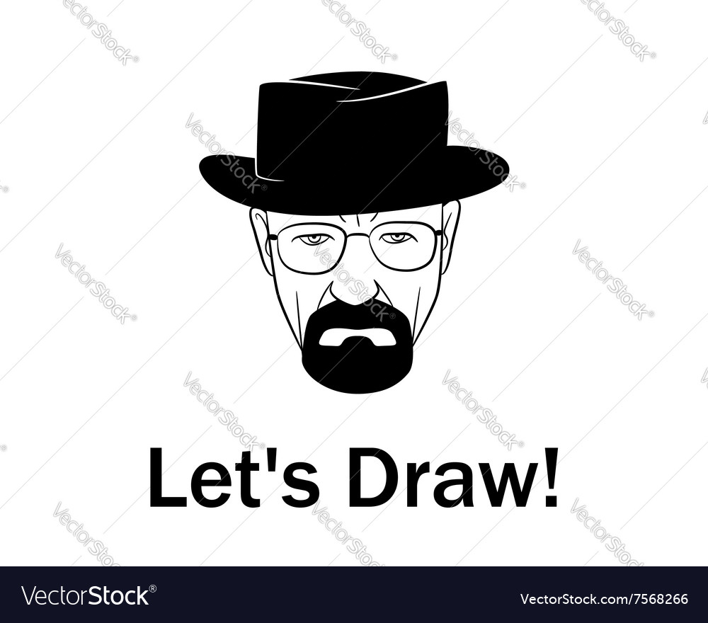 Lets draw man in a hat with beard vector image
