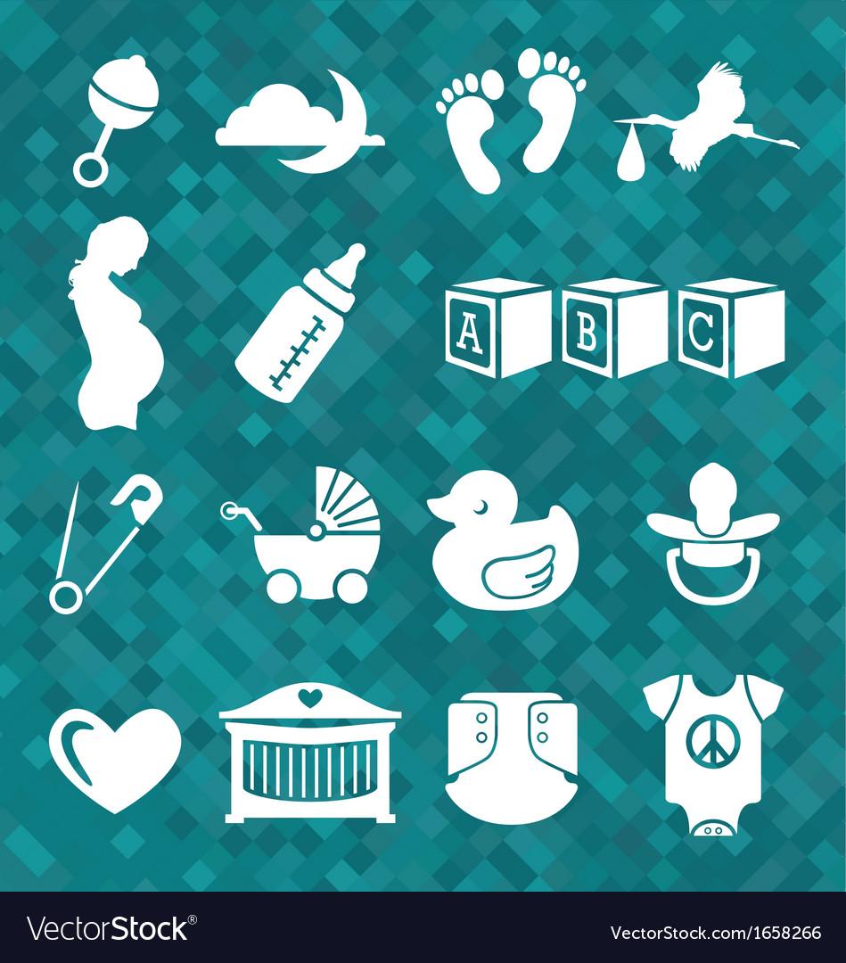 e83e85bfe Newborn Baby Icons and Symbols Royalty Free Vector Image