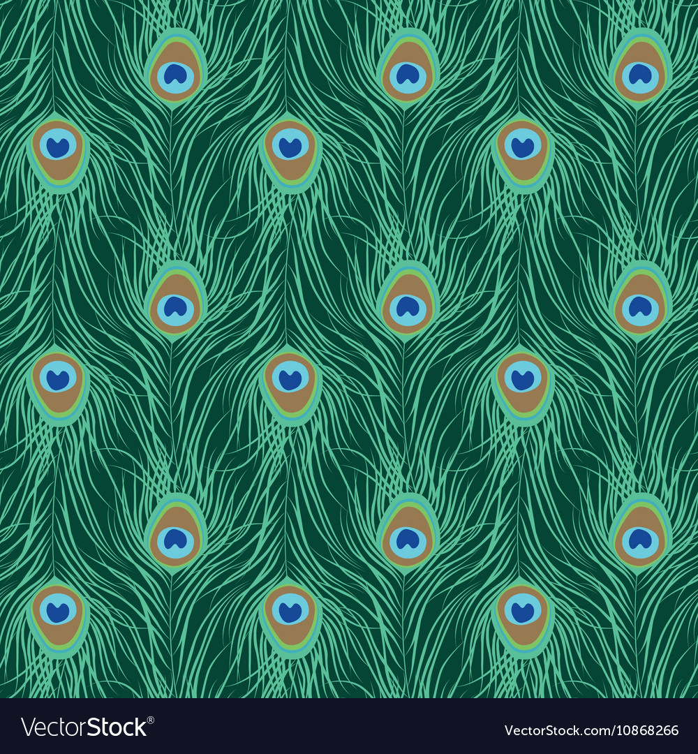 Peacock feather seamless pattern vector image