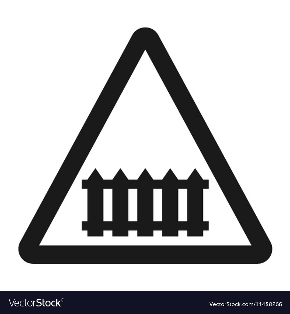 railroad crossing with barrier sign line icon vector image