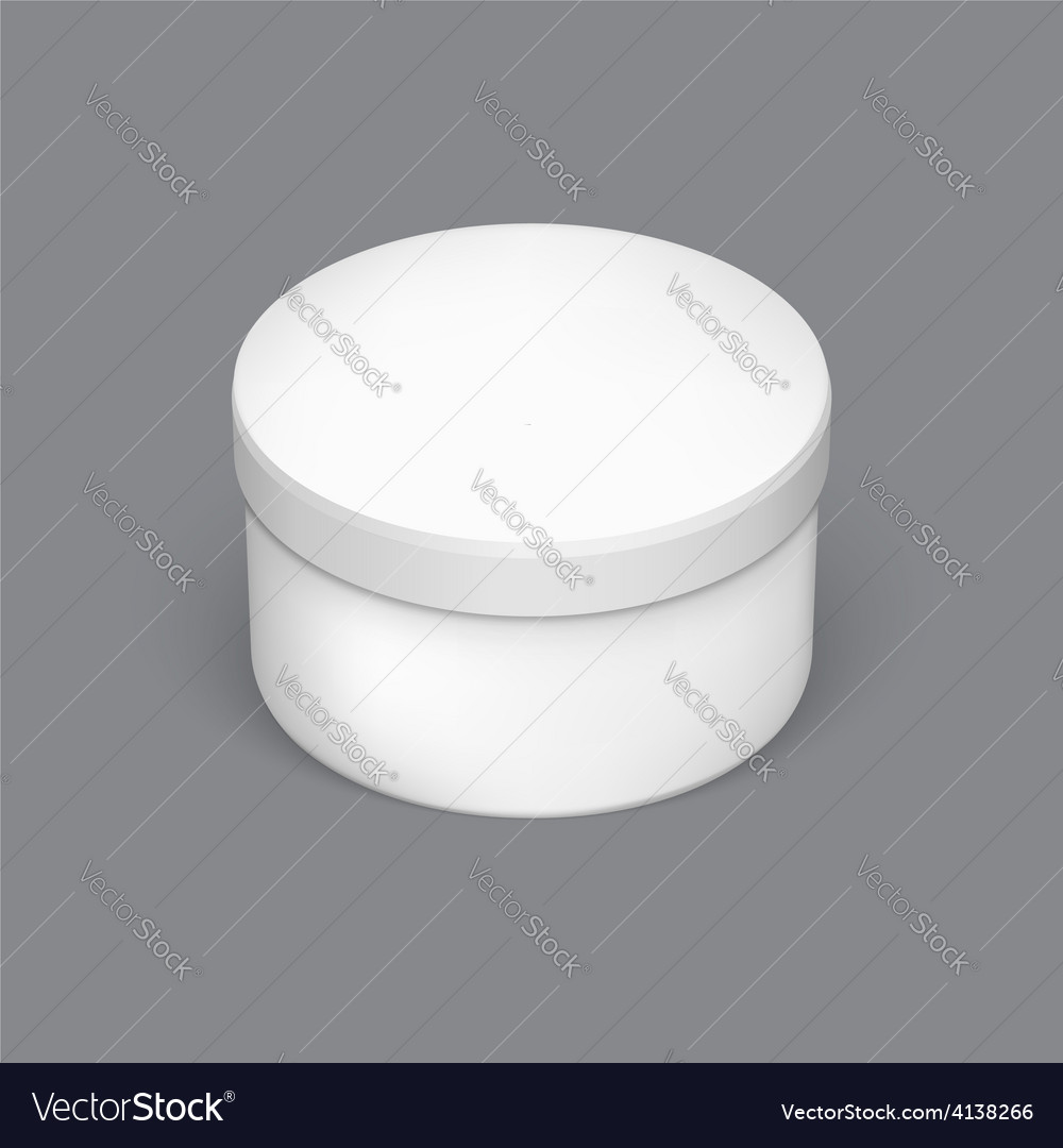 Realistic round package box for products vector image