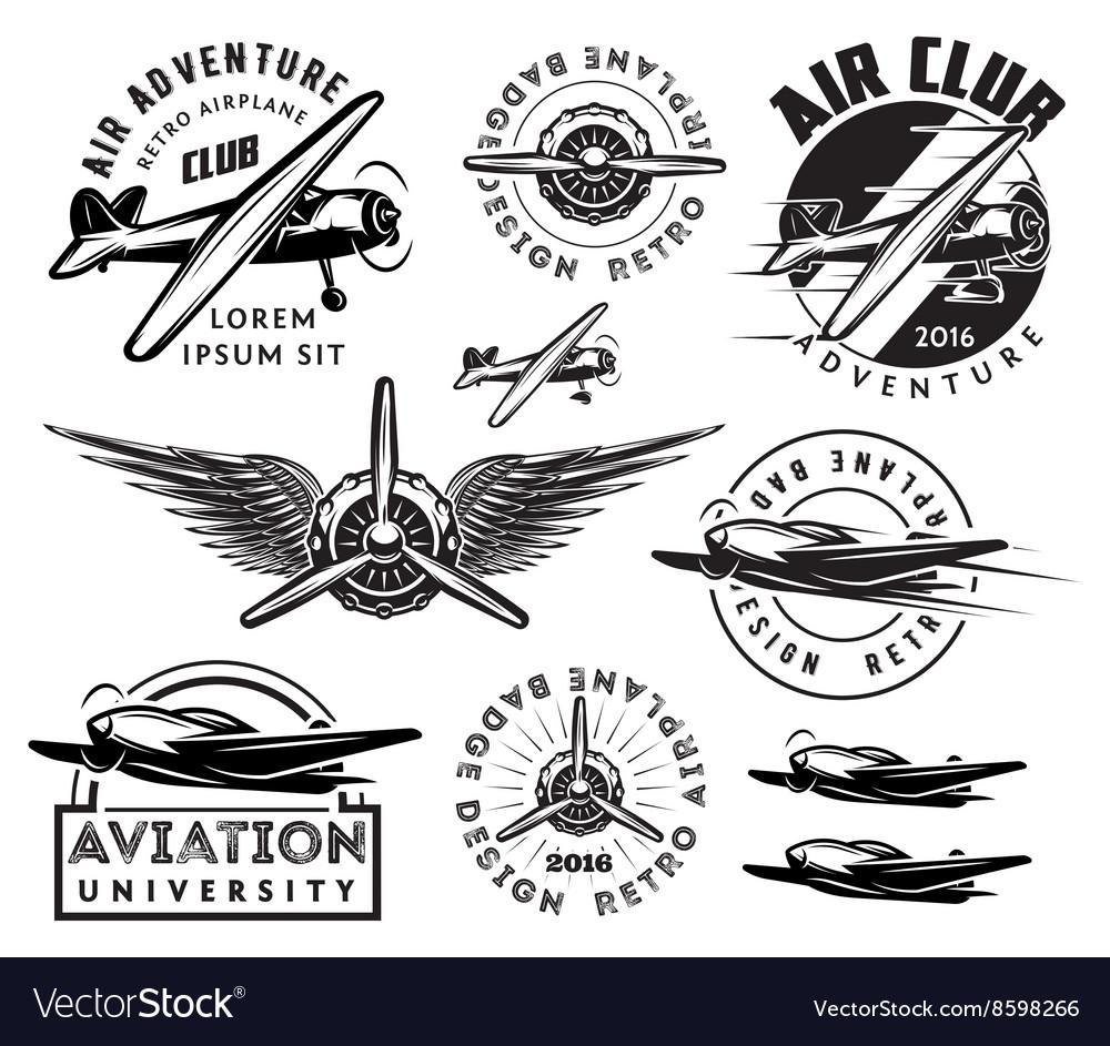 Retro pattern set of planes badges design