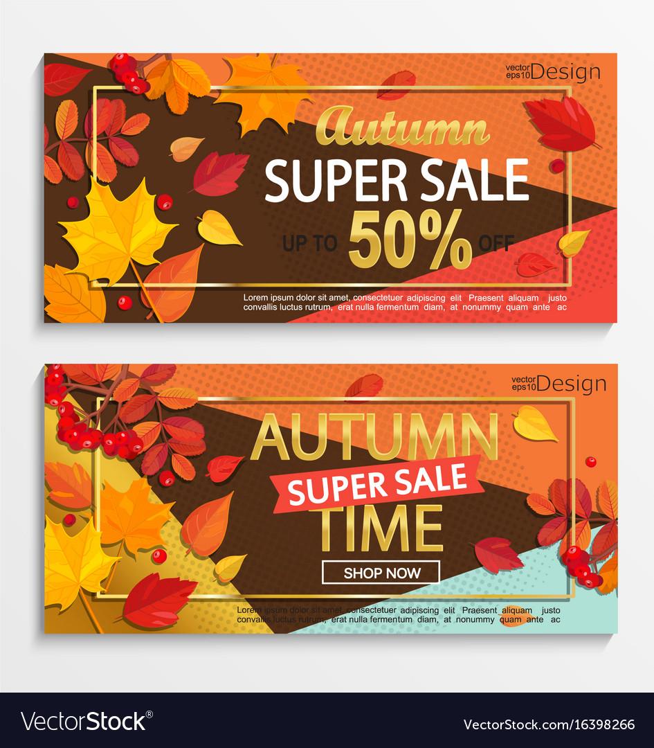 Set of modern banners for autumn super sale