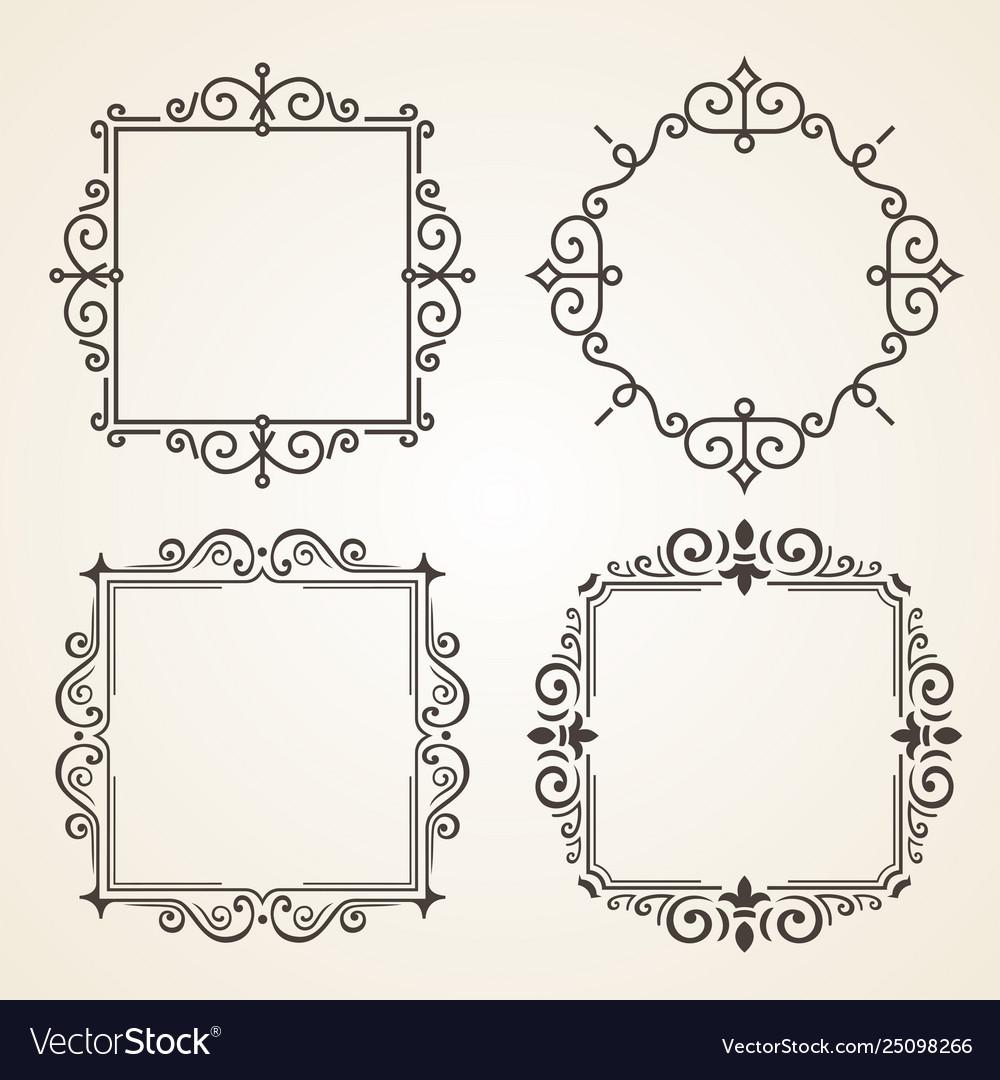 Set victorian vintage decorations elements and