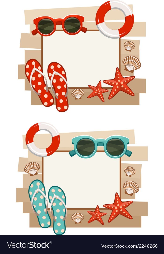 Summer frame with beach symbols