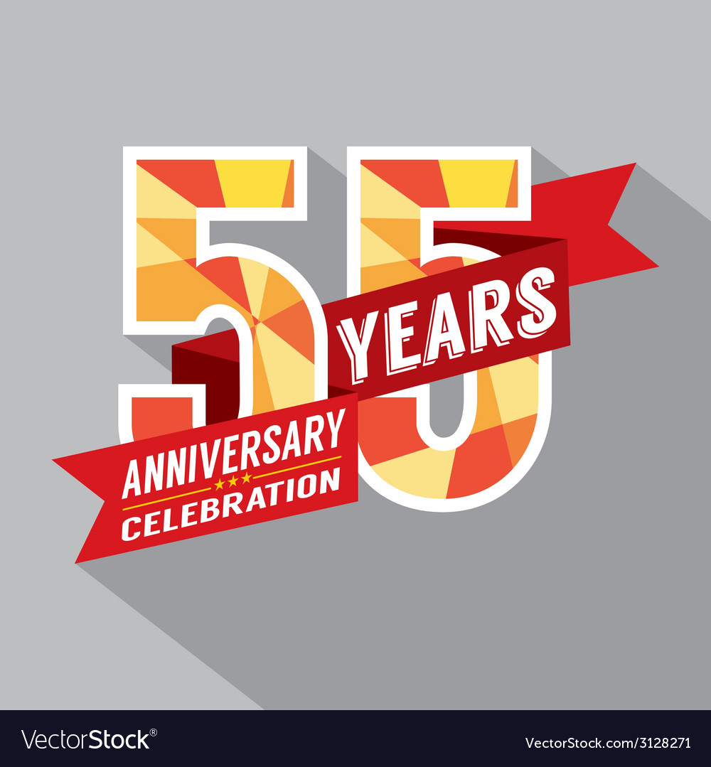 55th Years Anniversary Celebration Design vector image