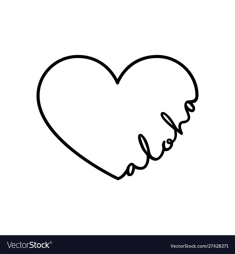 Aloha - calligraphy word with hand drawn heart